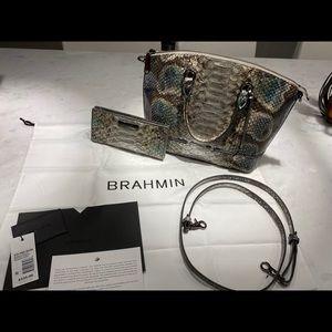Brahmin Duxbury Satchel Platinum Folkland & wallet